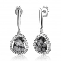 ELLE Sterling Silver Snowflake Jasper and Micro Pave CZ Post Earrings