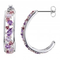 ELLE Sterling Silver African Amethyst, Brazilian Amethyst, and Rhodolite Garnet Post Earrings