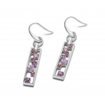 ELLE Sterling Silver African Amethyst, Brazilian Amethyst, and Rhodolite Garnet Eurowire Earrings