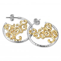 ELLE Sterling Silver & 14kt Gold Plated Post Earrings