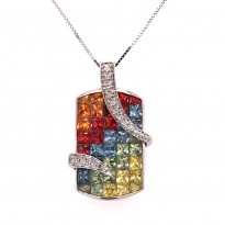 White Gold Rainbow Sapphire and Diamond Necklace