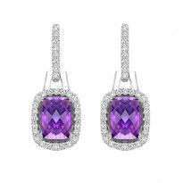 Silver with Cushion Amethyst Earrings