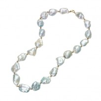 Gold Bead F.W. Pearl Necklace