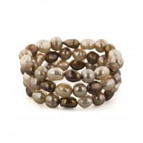 Set of 3 9-10MM Multi Chocolate Baroque Freshwater Cultured Pearl 7.5 Stretch Bracelets