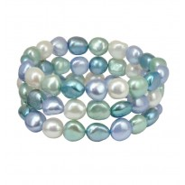 Set of Three 9-10MM Halo Baroque Freshwater Cultured Pearl 7.5 Stretch Bracelets