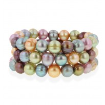 Set of 3 8-9MM Gelato Ringed Freshwater Cultured Pearl Stretch Bracelets