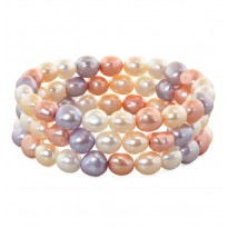 Set of Three 8-9mm Pink Halo Baroque Freshwater Cultured Pearl 7.5 Stretch Bracelets