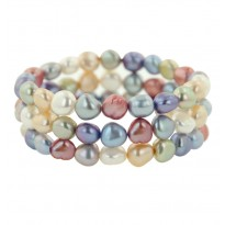 Set of 3 8-9MM Wildflower Baroque Freshwater Cultured Pearl Stretch Bracelets