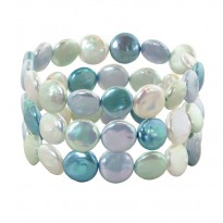 Set of Three 11-13mm Halo Coin Freshwater Cultured Pearl 7.5 Stretch Bracelets