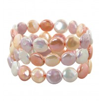 Set of Three 11-13mm Pink Halo Coin Freshwater Cultured Pearl 7.5 Stretch Bracelets