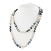 Sterling Silver 8-9MM Black, White and Gray Ringed Freshwater Cultured Pearl 36 Necklace