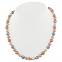 Sterling Silver 8-9mm Pink Halo Baroque Freshwater Cultured Pearl 18 Necklace