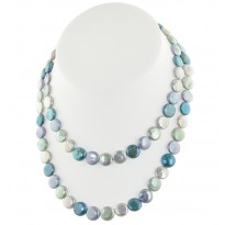 Sterling Silver 11-13mm Halo Coin Freshwater Cultured Pearl 36 Necklace