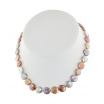 Sterling Silver 11-13mm Pink Halo Coin Freshwater Cultured Pearl 18 Necklace