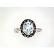 Effy Aquamarine and Diamond Ring