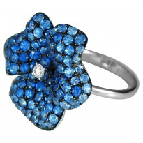 18K WG PETUNIA RING 1D .07  105BS 3.2
