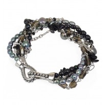 Sterling Silver 4-7.5MM Black and Jet Freshwater Cultured Pearl with Mixed Gemstone Twist 8.25 Bracelet