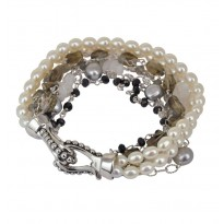 Sterling Silver 4-7.5MM White and Gray Freshwater Cultured Pearl, Moonstone and Onyx Bracelet