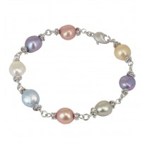 Sterling Silver 9-10MM Wildflower Baroque Freshwater Cultured Pearl 7.5 Bracelet