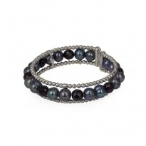 Sterling Silver 8-9MM Black Ringed Freshwater Cultured Pearl with Black Onyx Cuff Bracelet