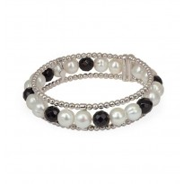 Sterling Silver 8-9MM White Ringed Freshwater Cultured Pearl with Black Onyx Cuff Bracelet