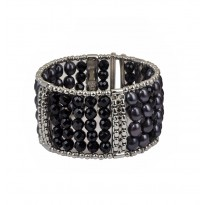 Sterling Silver 6-7MM Black Oval Freshwater Cultured Pearl with 6MM Black Onyx Wide Cuff Bracelet