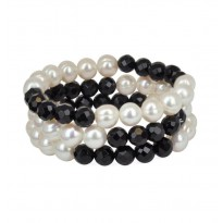 Set of 3 9-10MM White Freshwater Cultured Pearls and Onyx Stretch Bracelets