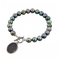 Sterling Silver 7-8mm Black Round Ringed Freshwater Cultured Pearl with Black Agate Druzy 7.5 Toggle Bracelet