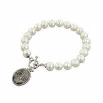 Sterling Silver 7-8mm White Round Ringed Freshwater Cultured Pearl with Silver Agate Druzy 7.5 Toggle Bracelet