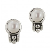 Sterling Silver 7.5-8MM White Freshwater Cultured Pearl Pallini Earrings
