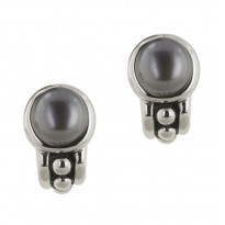 Sterling Silver 7.5-8MM Black Freshwater Cultured Pearl Pallini Earrings
