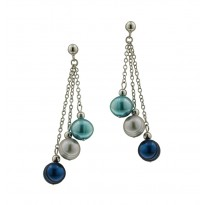 Sterling Silver 8-9MM Blue Moon Ringed Freshwater Cultured Pearl Dangle Earrings