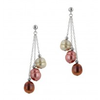 Sterling Silver 8-9MM Gelato Ringed Freshwater Cultured Pearl Dangle Earrings