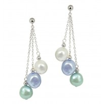 Sterling Silver 8-9mm Halo Baroque Freshwater Cultured Pearl Dangle Earrings
