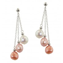 Sterling Silver 8-9mm Pink Halo Baroque Freshwater Cultured Pearl Dangle Earrings