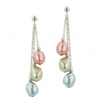 Sterling Silver 8-9MM Wildflower Baroque Freshwater Cultured Pearl Earrings