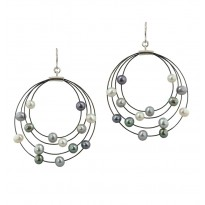 Sterling Silver and Steel 4-4.5MM Black, White and Gray Earrings