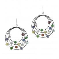 Sterling Silver and Steel 4-4.5MM Dark Multi Earrings