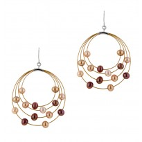 Sterling Silver and Steel 4-4.5MM Multi Chocolate Earrings