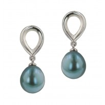 Sterling Silver 10-11MM Teal Baroque Freshwater Cultured Pearl Drop Earrings