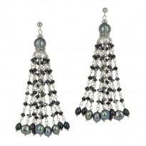 Sterling Silver 4-8.5MM Black and Jet Freshwater Cultured Pearl with Mixed Gemstone Dangle Earrings