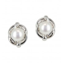 Sterling Silver 9.5-10MM White Button Freshwater Cultured Pearl Stud Earrings