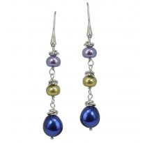 Sterling Silver 7-10MM Peacock Freshwater Cultured Pearl Dangle Earrings