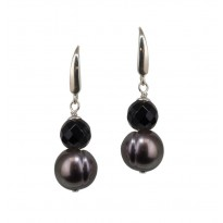 Sterling Silver 11-12MM Black Ringed Freshwater Cultured Pear Black Onyx Linear Earrings
