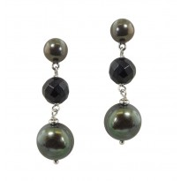 Sterling Silver 7-12mm Black Freshwater Cultured Pearl with 8mm Faceted Black Onyx Dangle Earrings