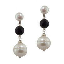 Sterling Silver 7-12mm White Freshwater Cultured Pearl with 8mm Faceted Black Onyx Dangle Earrings