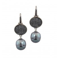 Sterling Silver 11-12mm Black Ringed Freshwater Cultured Pearl with Black Agate Druzy Dangle Earrings