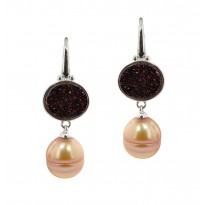 Sterling Silver 11-12MM Mocha Ringed Freshwater Cultured Pearl with Chocolate Agate Druzy Dangle Earrings