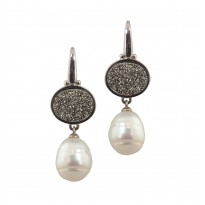 Sterling Silver 11-12mm White Ringed Freshwater Cultured Pearl with Silver Agate Druzy Dangle Earrings