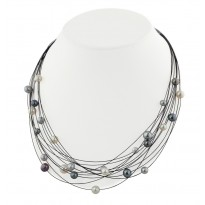 Sterling Silver and Steel 5-8MM Black, White and Gray Necklace